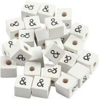 Sign Bead, &, size 8x8 mm, hole size 3 mm, white, 25 pc/ 1 pack