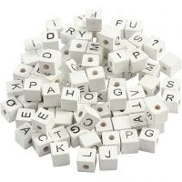 Letter Bead, A-Z, &, #, ?, size 8x8 mm, hole size 3 mm, white, 96 asstd./ 1 pack