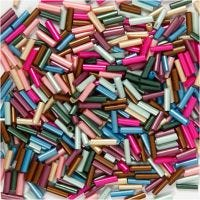 Bead Mix, L: 6 mm, D: 1,5-2 mm, hole size 1 mm, metallic colours, 130 g/ 1 pack