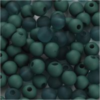 Plastic Beads, D: 6 mm, hole size 2 mm, bottle green, 40 g/ 1 pack