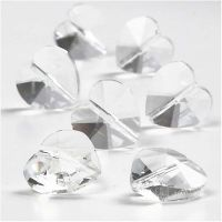 Crystal Beads, heart shaped, size 14 mm, hole size 1 mm, Gloss transparent, 30 pc/ 1 pack