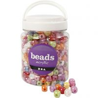 Dice Bead Mix, size 10x10 mm, hole size 4 mm, assorted colours, 700 ml/ 1 tub, 400 g