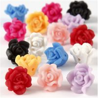 Clay Roses, D: 16x10 mm, hole size 0,5 mm, assorted colours, 16 asstd./ 1 strand