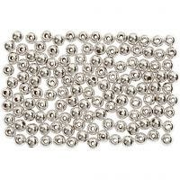 Wax Beads, D: 3 mm, hole size 0,7 mm, silver, 150 pc/ 1 pack
