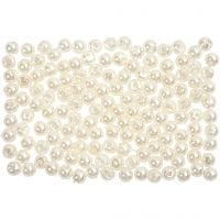 Wax Beads, D: 3 mm, hole size 0,7 mm, mother-of-pearl, 150 pc/ 1 pack