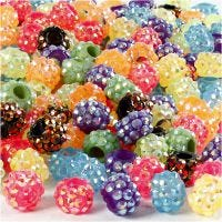 Rhinestone Links, size 9x13 mm, hole size 5 mm, Content may vary , assorted colours, 300 pc/ 1 pack