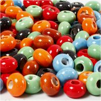 Ceramic Link, D: 15 mm, hole size 5,5 mm, Content may vary , assorted colours, 300 pc/ 1 pack