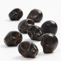 Howlite Beads, D: 12 mm, hole size 1,5 mm, black, 32 pc/ 1 pack
