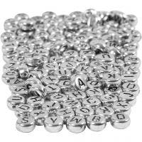 Letter Beads, D: 7 mm, hole size 1,2 mm, silver, 165 g/ 1 pack