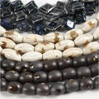 Pottery Beads, L: 12-19 mm, hole size 2 mm, blue, stone beige, off-white, 99 pc/ 1 pack