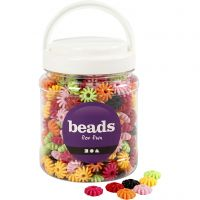 Tri-Beads, D: 27 mm, hole size 3 mm, assorted colours, 700 ml/ 1 tub, 420 g