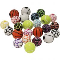 Sports Beads, D: 10+11 mm, hole size 1,5+3 mm, 270 g/ 1 pack