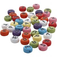 Round letter beads, D: 7 mm, hole size 1-2 mm, assorted colours, 0,0 pc/ 1 pack