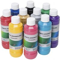 Glass and porcelain paint, assorted colours, 10x250 ml/ 1 pack