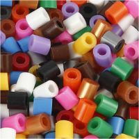 Fuse Beads with a Split, size 5x5 mm, hole size 2,5 mm, medium, standard colours, 6000 asstd./ 1 pack