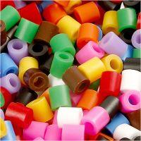 Fuse Beads, size 5x5 mm, hole size 2,5 mm, medium, standard colours, 6000 asstd./ 1 pack