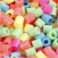 Fuse Beads, size 5x5 mm, hole size 2,5 mm, medium, pastel colours, 6000 asstd./ 1 pack
