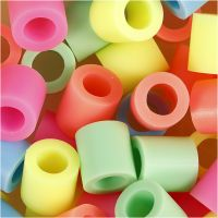 Fuse Beads, size 10x10 mm, hole size 5,5 mm, JUMBO, pastel colours, 2450 asstd./ 1 bucket