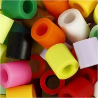 Fuse Beads, size 10x10 mm, hole size 5,5 mm, JUMBO, additional colours, 1000 asstd./ 1 pack