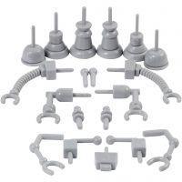 Robot parts, size 0,5-6 cm, grey, 19 pc/ 1 pack
