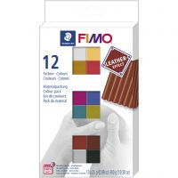 FIMO® Leather Effect , assorted colours, 12x25 g/ 1 pack