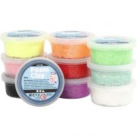 Foam Clay®, glitter, assorted colours, 10x35 g/ 1 pack