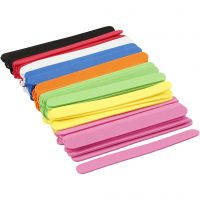 EVA foam ice lolly sticks, L: 11,5 cm, W: 1 cm, thickness 2 mm, assorted colours, 120 pc/ 1 pack