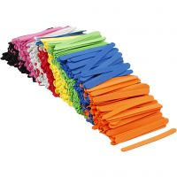EVA foam ice lolly sticks, L: 11,5 cm, W: 1 cm, thickness 2 mm, assorted colours, 1000 pc/ 1 pack