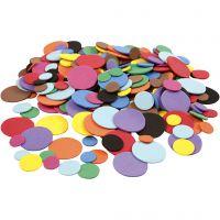 EVA Foam Circles, D: 12+20+32 mm, assorted colours, 2120 asstd./ 1 pack