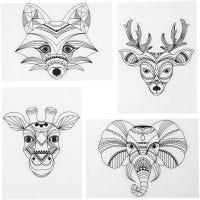 Shrink Plastic Sheets with motives, Wild animals, 10,5x14,5 cm, thickness 0,3 mm, matt transparent, 4 sheet/ 1 pack