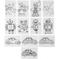 Shrink Plastic Sheets with motives, 10,5x14,5 cm, thickness 0,3 mm, matt transparent, 36 sheet/ 1 pack