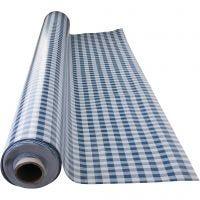 Wax tablecloth, blue checks, size 140 cm, 1 rm