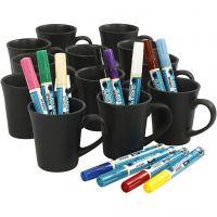 Black mugs painting, assorted colours, 1 set, 36 pc
