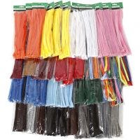 Pipe Cleaners, thickness 6-15 mm, assorted colours, 43x10 pack/ 1 pack