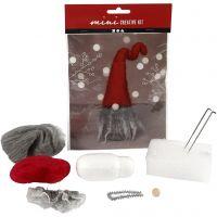 Creative mini kit, Christmas gnome w/grey beard, H: 13 cm, 1 set