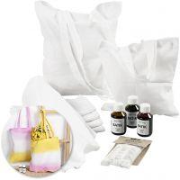 Kits – Batik-dyed tea towels and tote bags, 1 set