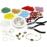 Creative kit– Jewellery making with rocaille seed beads, gold-plated, 1 set