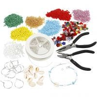 Creative kit – Jewellery making with rocaille seed beads, silver-plated, 1 set