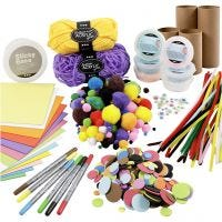 Creative kit– Figures made from cardboard tubes, happy colours, 1 set