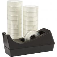 Desk Tape Dispenser and Adhesive Tape, W: 15 mm, 1 set