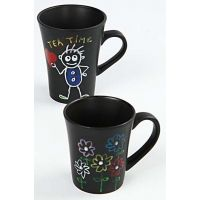 Drawings made with Glass and Porcelain Markers on Black Mugs