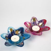 A Candle Holder Flower with Decoupage