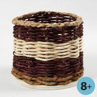 Basket Weaving around a wooden Base and Flower Sticks