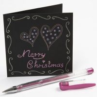 Writing on a Black Greeting Card