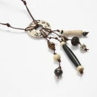 A Necklace made with hand-carved Bone Beads