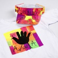 Neon Textil Color Fabric Paint on a T-Shirt and a Sun Visor