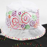 A Bucket Hat with neon 3D Liner