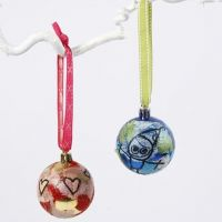 Christmas Baubles with Straw Silk Paper and Glitter