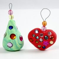 Silk Clay Christmas Hanging Decorations with Rhinestones