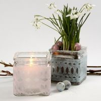 Candle Holders with a pastel-coloured Tissue Paper Waistband